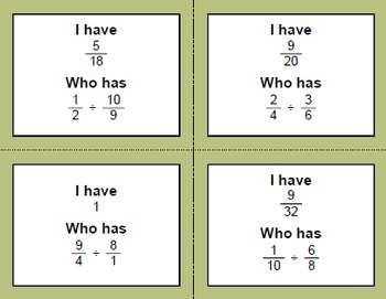 I Have, Who Has - Dividing Fractions