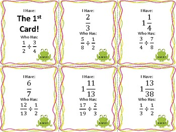 I Have Who Has: Dividing Fractions