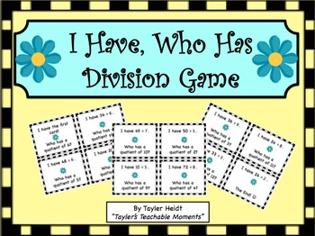 """I Have, Who Has"" Division Game"