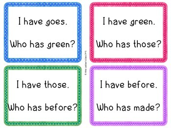 I Have, Who Has? - Dolch Grade Two Words