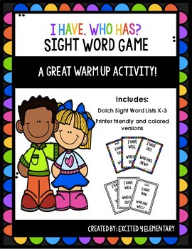 I Have Who Has Dolch Sight Word Pack