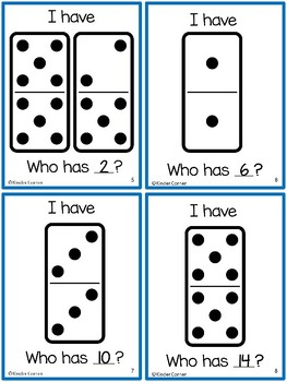 I Have, Who Has - Dominoes Numbers 1-20 Identification Card Game