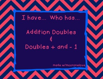 I Have Who Has Doubles Addition
