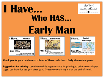 I Have..Who Has.. Early Man