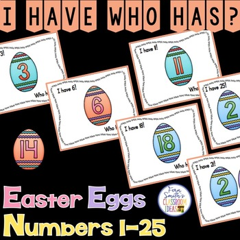 I Have Who Has Game Easter Egg Numbers 1-25 Cards