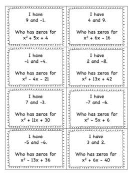 I Have Who Has Easy Factoring and Finding Zeros