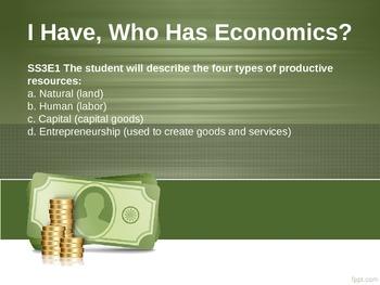I Have, Who Has Economics THIRD GRADE