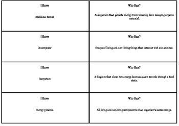 I Have Who Has Ecosystem Vocabulary-Grade 5