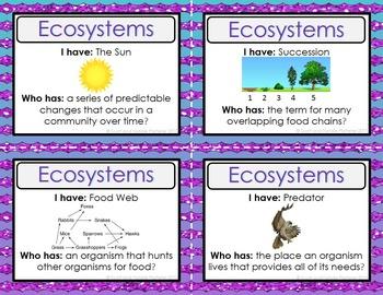 Ecosystems Activity - I Have, Who Has?
