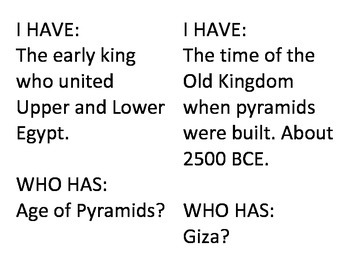 I Have Who Has Egypt Review Game