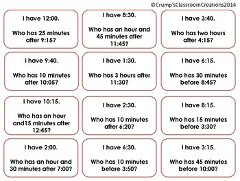 I Have, Who Has Elapsed Time Review (Common Core Aligned)
