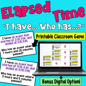 I Have... Who Has:  Elapsed Time   Whole Class Activity Game