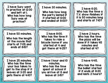 I Have, Who Has - Elapsed Time - Word Problems