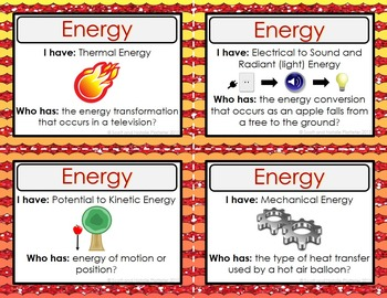 Energy Activity - I Have, Who Has?