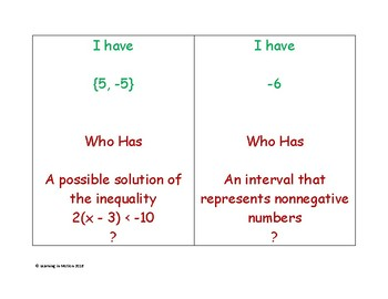 I Have Who Has Equations