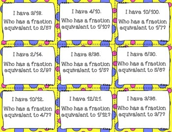 I Have Who Has Equivalent Fractions