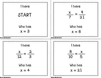 I Have, Who Has? Equivalent Ratios & Proportions Game