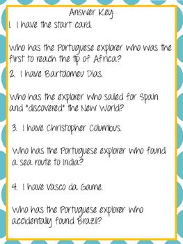 I Have, Who Has? European Explorers Game