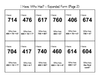 """""""I Have, Who Has"""" - Expanded Form (2nd Grade)"""