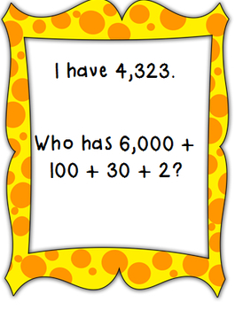Place Value Game-I Have, Who Has Expanded Form (Thousands, Hundreds, Tens, Ones)