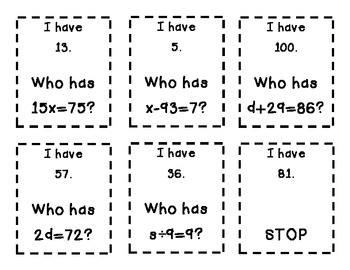 I Have Who Has - Exponents Game & Equations Game