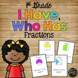 Fractions Game I Have Who Has, Fourths, Thirds, Halves, FIRST GRADE
