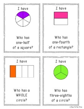 I Have Who Has FRACTIONS Halves, Fourths, Sixths, Eighths SECOND GRADE