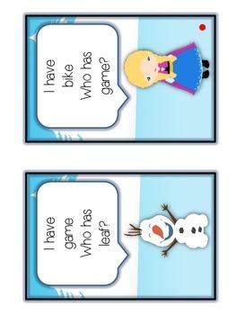 I Have Who Has FROZEN Princess Folder Game - LONG VOWELS