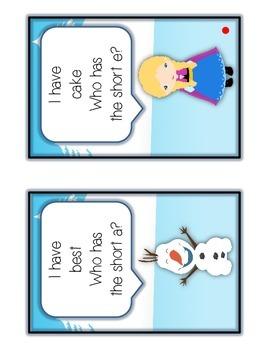 I Have Who Has FROZEN Princess Folder Game - SHORT & LONG VOWELS