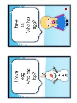 I Have Who Has FROZEN Princess Folder Game - SHORT VOWELS