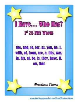 """I Have... Who Has?  """"FRY"""" Sight Words BUNDLE set"""