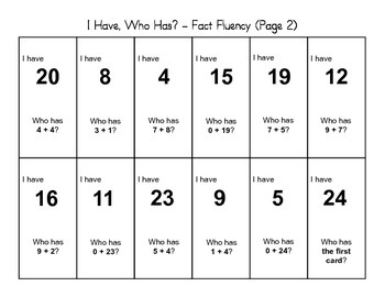 """I Have, Who Has"" - Fact Fluency (2nd Grade)"