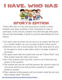 I Have, Who Has, Fact & Opinion Game - Sports Edition