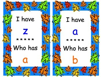 I Have Who Has - Fall - lower case letters