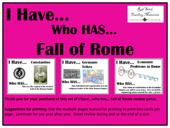 I Have..Who Has.. Fall of Rome