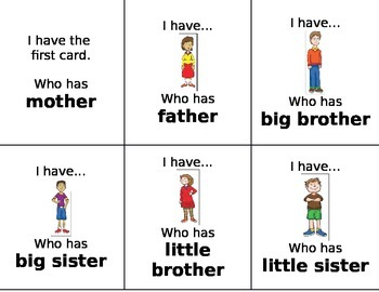 I Have Who Has Family loop cards