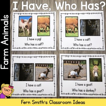 I Have Who Has Game Vocabulary Farm Animals