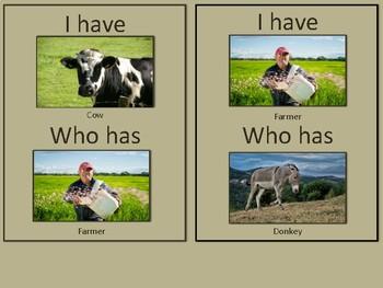 I Have Who Has Farm Cards