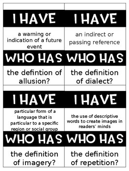 I Have, Who Has Figurative Language cards