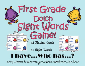 I Have, Who Has First Grade / Grade One Dolch Monster Sight Words Game