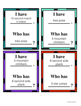 I Have, Who Has - Fitness Game to get students moving