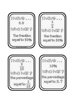 I Have, Who Has? Fraction, Decimal and Percentage #springsavings