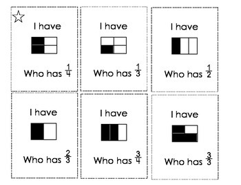 I Have Who Has ... Fractions
