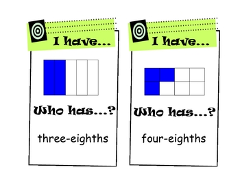 """I Have, Who Has?"" Fractions Game (Easier)"