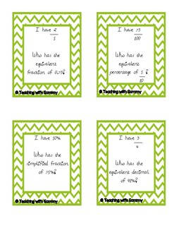 I Have, Who Has? - Fractions, percentages and decimals
