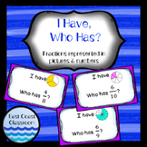 I Have, Who Has? Fractions represented in pictures & numbers