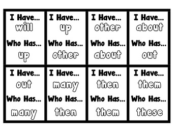 I Have, Who Has - Fry Sight Word Game 51-100 (Set 2)