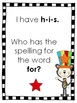 I Have, Who Has? Fry Words 1st 48 words - Cat with a Silly Striped Hat