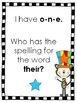 I Have, Who Has? Fry Words 1st 48 words - Cat with a Silly