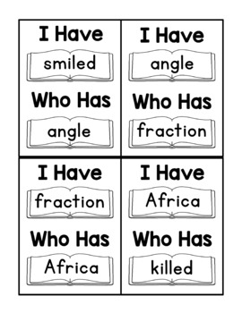 I Have Who Has Fry Words - 28th Group of 25 Words (Words 676-700) Game